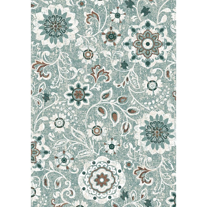 (D387) Goldfield Floral Blue Printed Area Rug With Non-Slip Back, 2x4