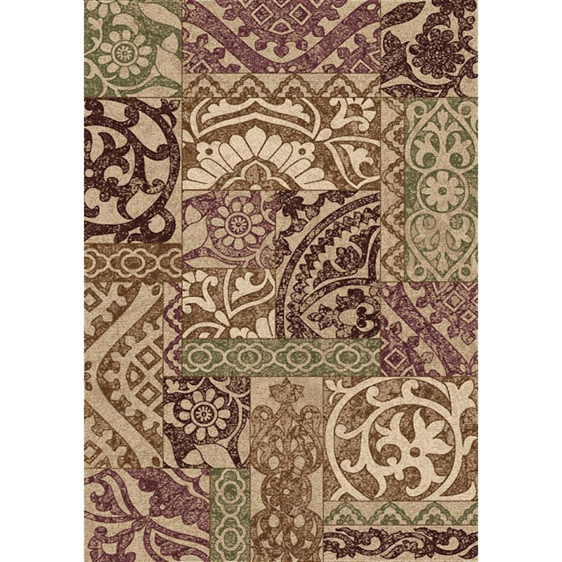(D388) Kileen Patchwork Multi Colored Printed Area Rug With Non-Slip Back, 2x4