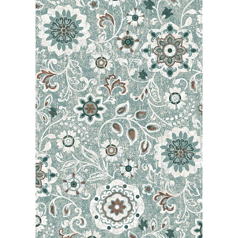(D387) Goldfield Floral Blue Printed Area Rug With Non-Slip Back, 4x7