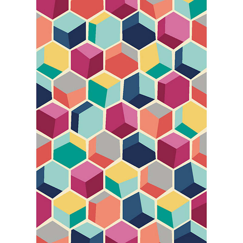 (D392) Hexagon Geo Multi Colored Printed Area Rug With Non-Slip Back, 4x7