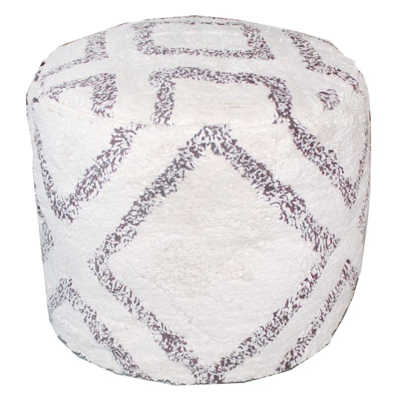 Oliver Round White Diamond Pattern Pouf