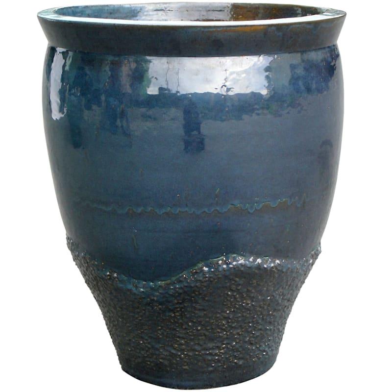 "Ceramic Coral Jar, 22"", Blue"