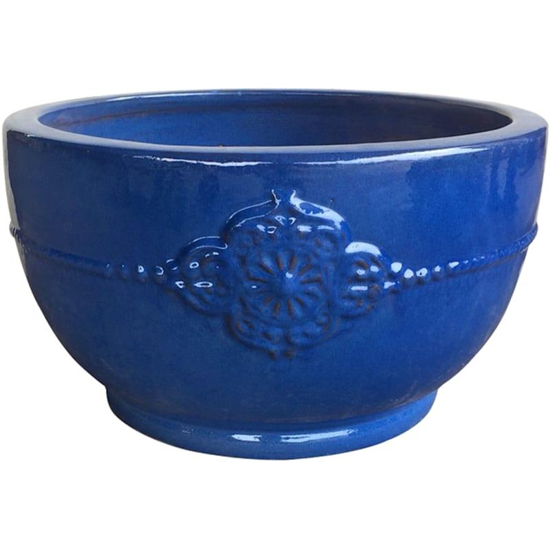 Verandah Bowl Ceramic Planter 22in. Aqua