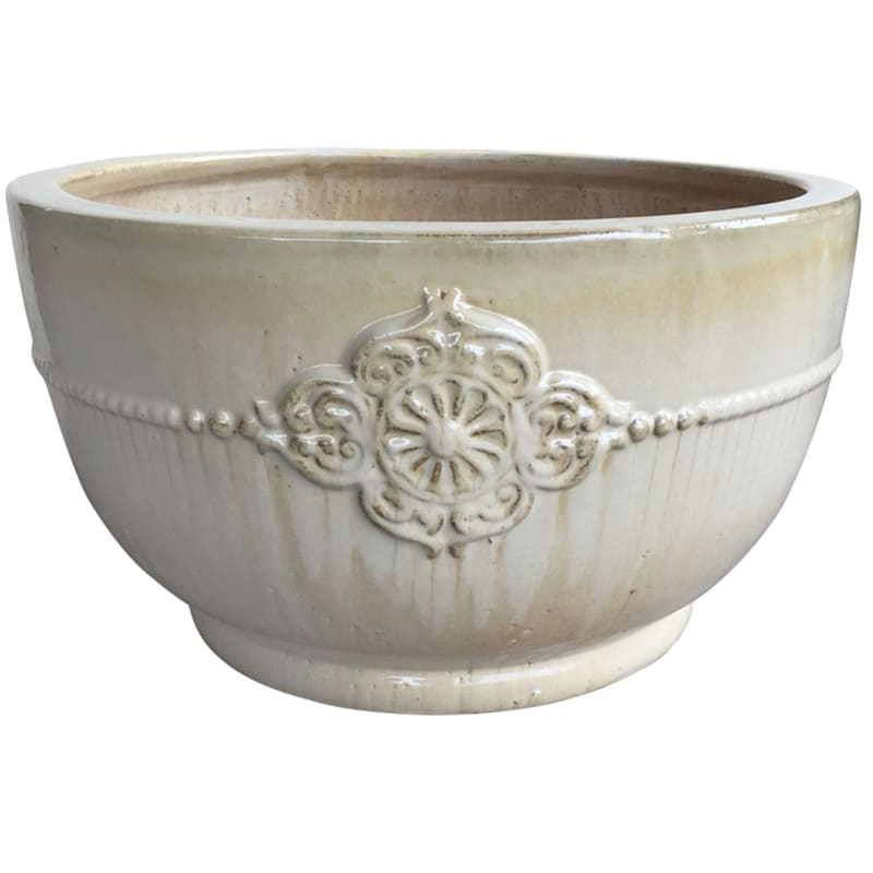 Verandah Bowl Ceramic Planter 22in. Cream