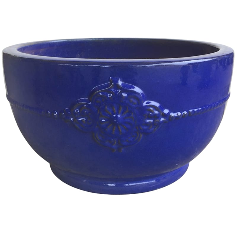 Verandah Bowl Ceramic Planter 22in. Falling Blue