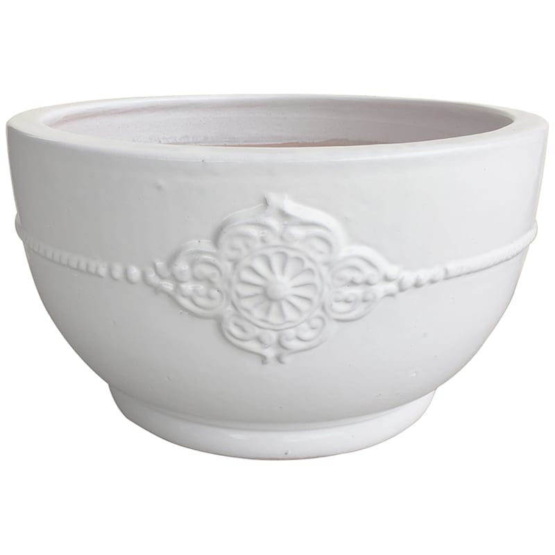 Verandah Bowl Ceramic Planter 22in. White