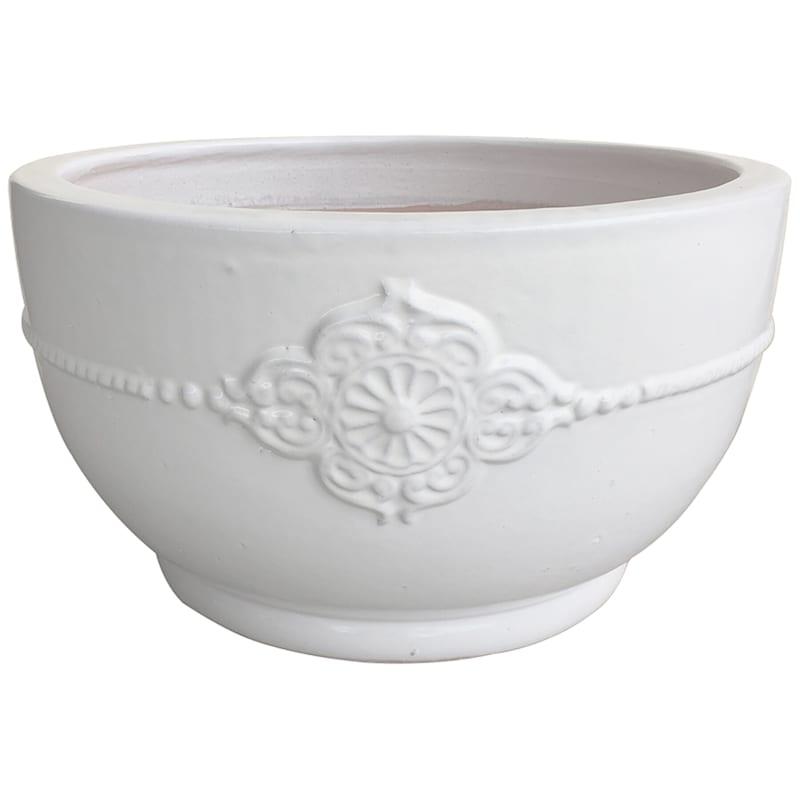 Verandah Bowl Ceramic Planter 17.7in. White
