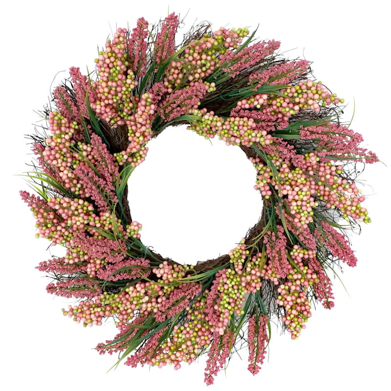 Heather & Pink Berries Wreath 22-in.