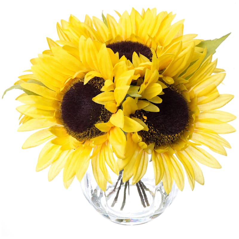 """Sunflowers in Glass Pot, 8.5"""""""