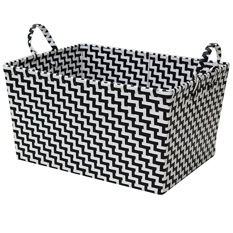 Tapered Plastic Basket W/Handle Black