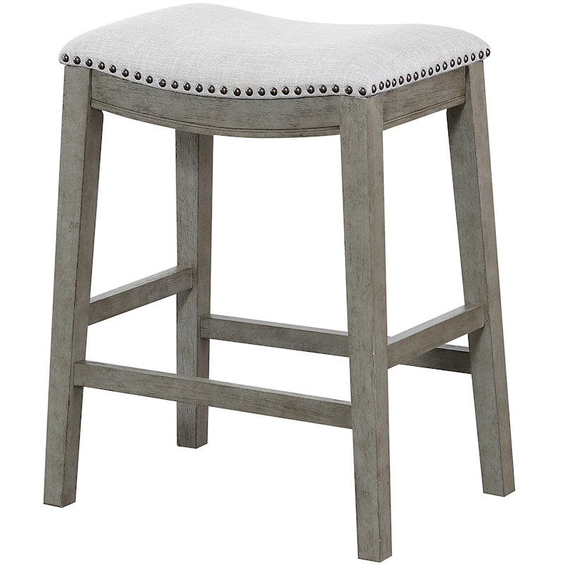 Haven Grey Upholstered Saddle Barstool, 24""