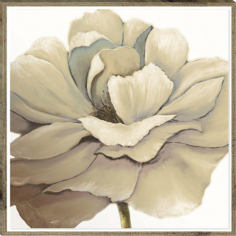 27X27 Embellished Cream Flower Bloom Canvas