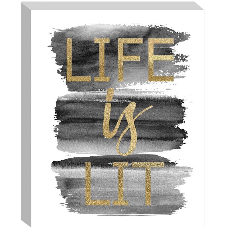 16X20 Black/Gold Life Is Lit Embellished Canvas