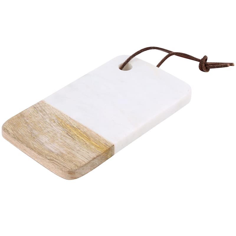 Small Rectangular White Marble/Wood Serve Board