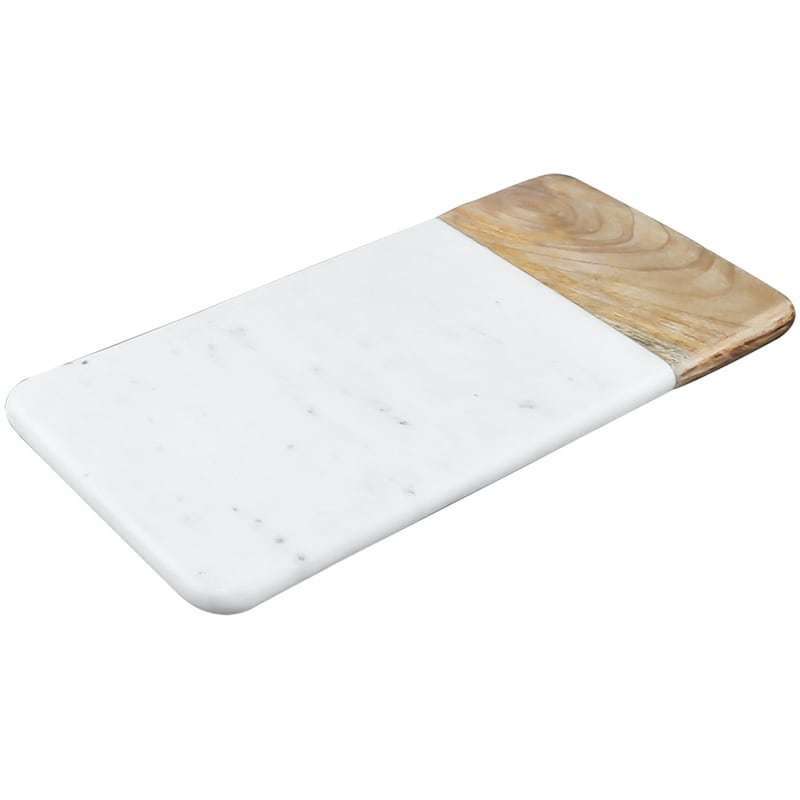 Rectangular White Marble Serve Board/Mango Wood Accent