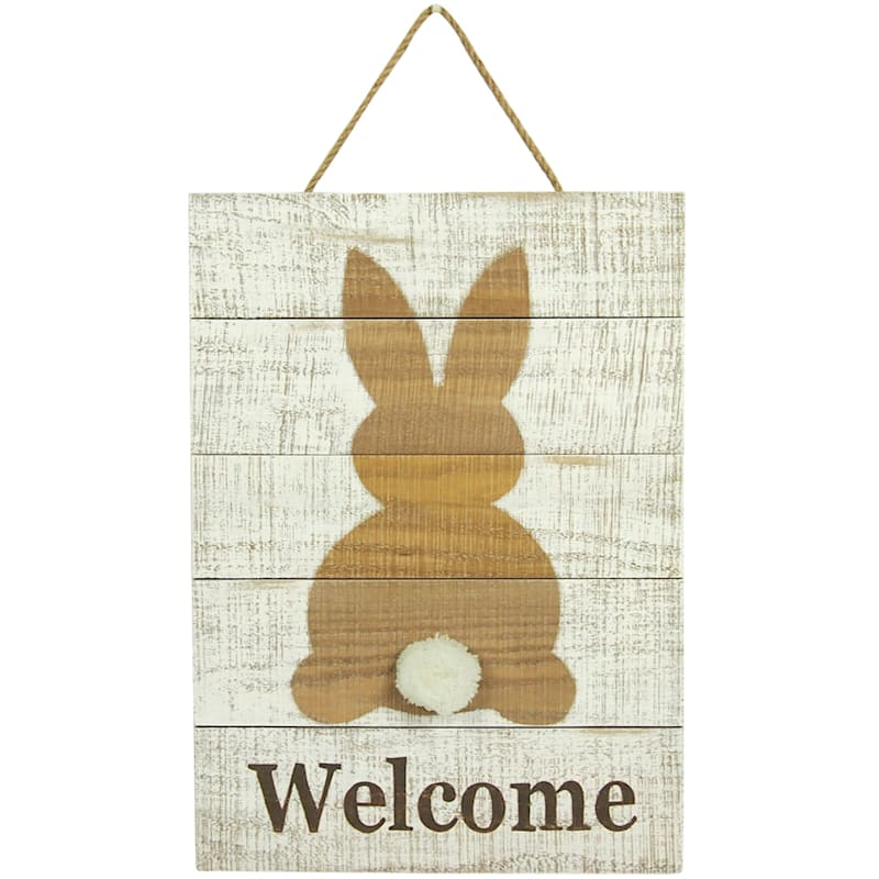 """""""Welcome"""" Bunny Wooden Wall Décor, 13"""" x 18"""""""