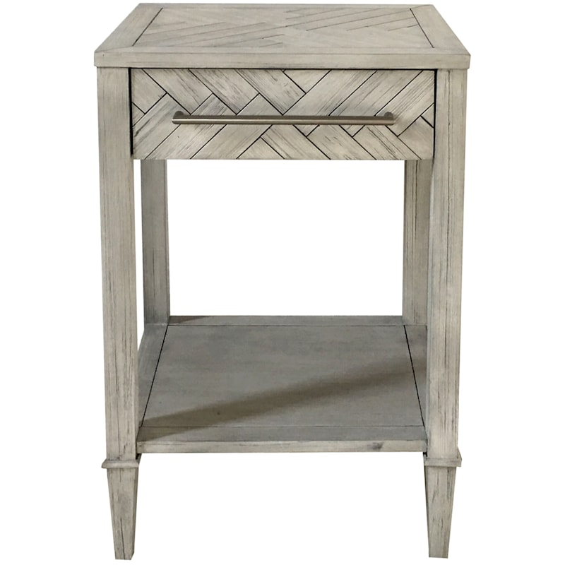 Kate 1 Drawer 1 Shelf Parquet Wood Side Table