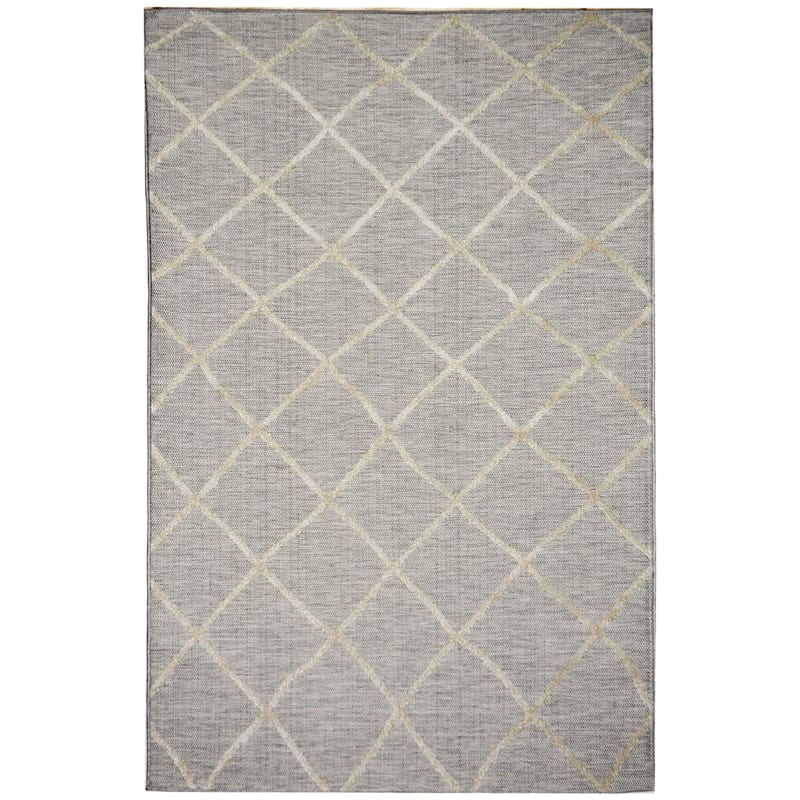 (E184) Grey & Beige Outdoor Moroccan Design Rug, 5x7
