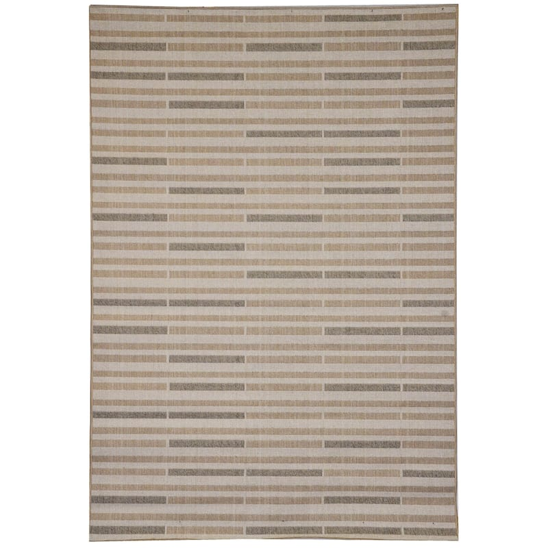 "E185 Havana Thin Block Rug, 7'3"" x 9'10"", Tan"