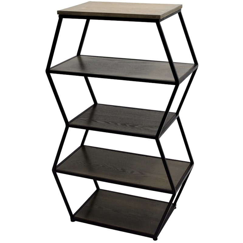 4 Tier Wood With Metal Shelving Unit