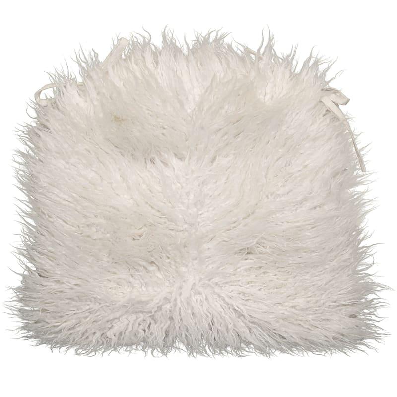 Mongolian Faux Fur Chair Pad/Ties White