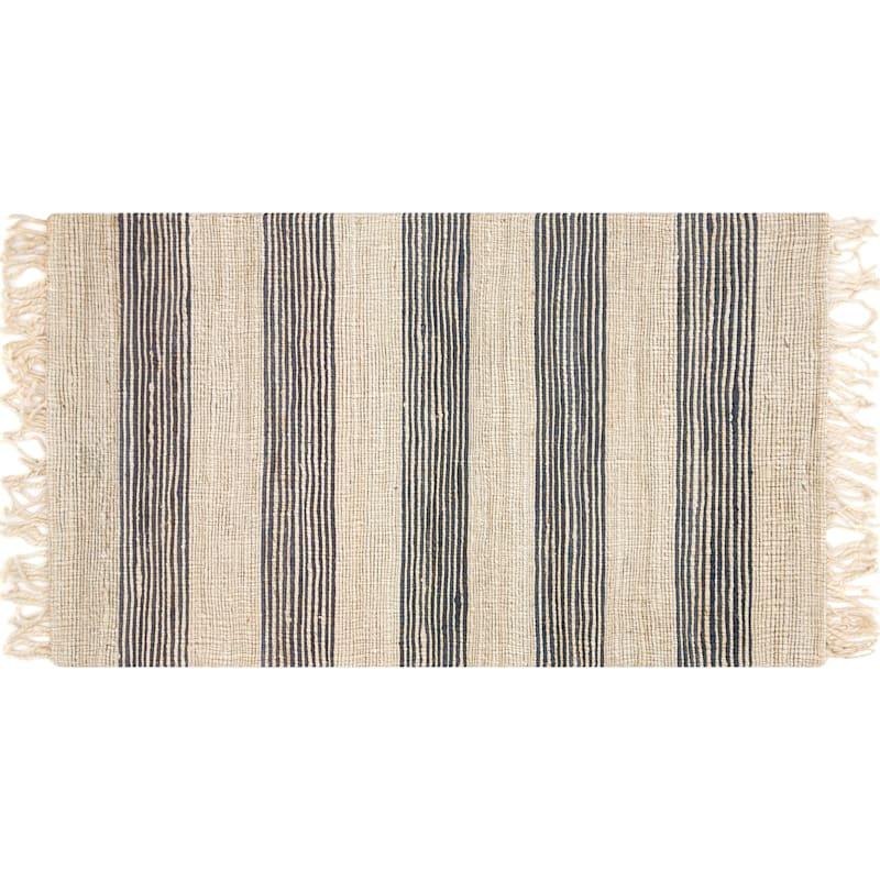 (B497) Hazel Stripe Natural & Navy Hand Woven Jute Area Rug, 3x5