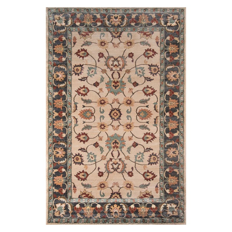 (A372) Collins Ivory & Sage Floral Area Rug, 8x10