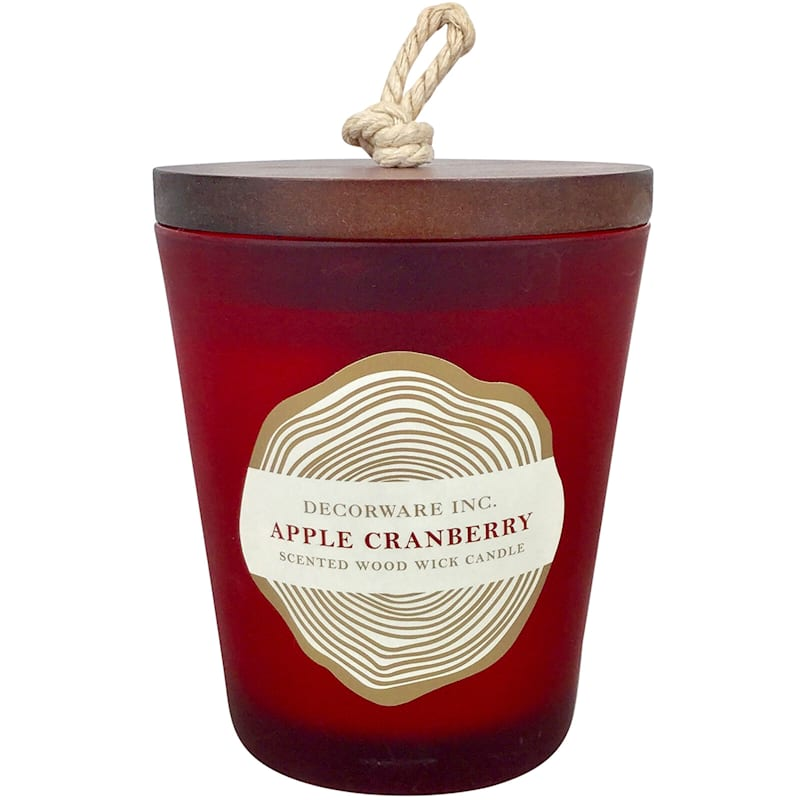 7oz Wood Wick Jar Candle Red