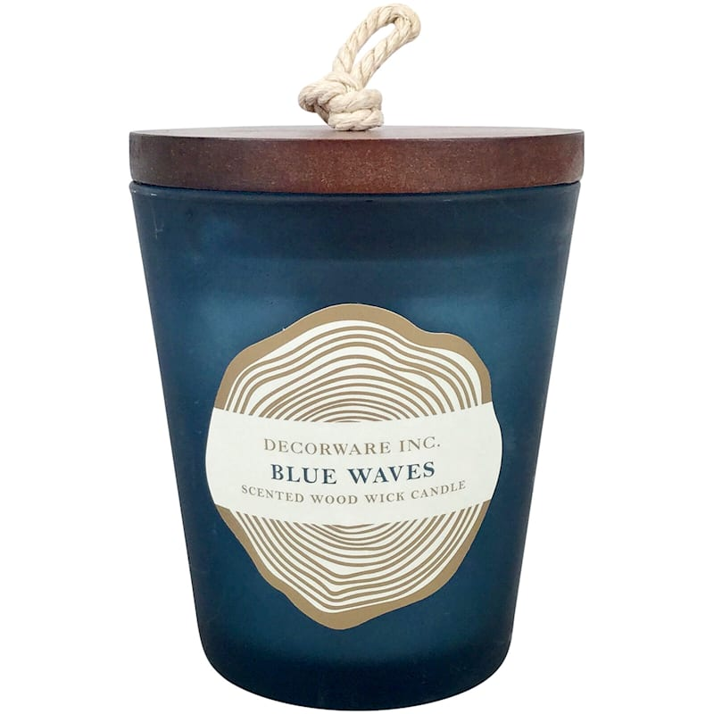 7oz Wood Wick Jar Candle Blue