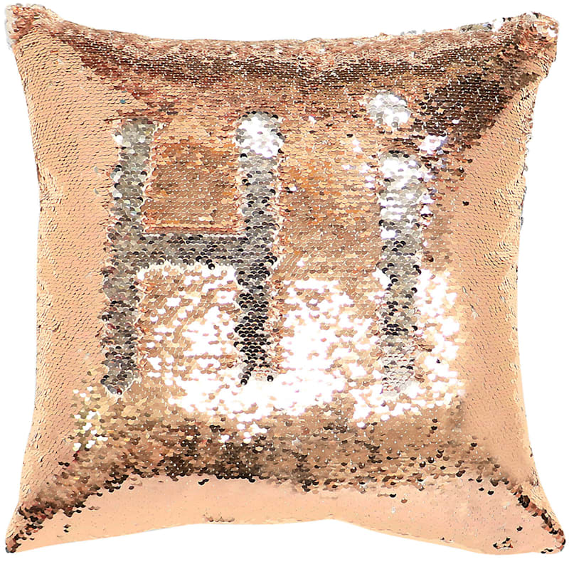 Gold/Silver Mermaid Sequin Pillow Rose 18X18