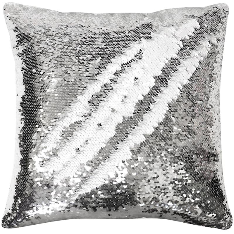 Silver/White Mermaid Sequin Pillow 18X18
