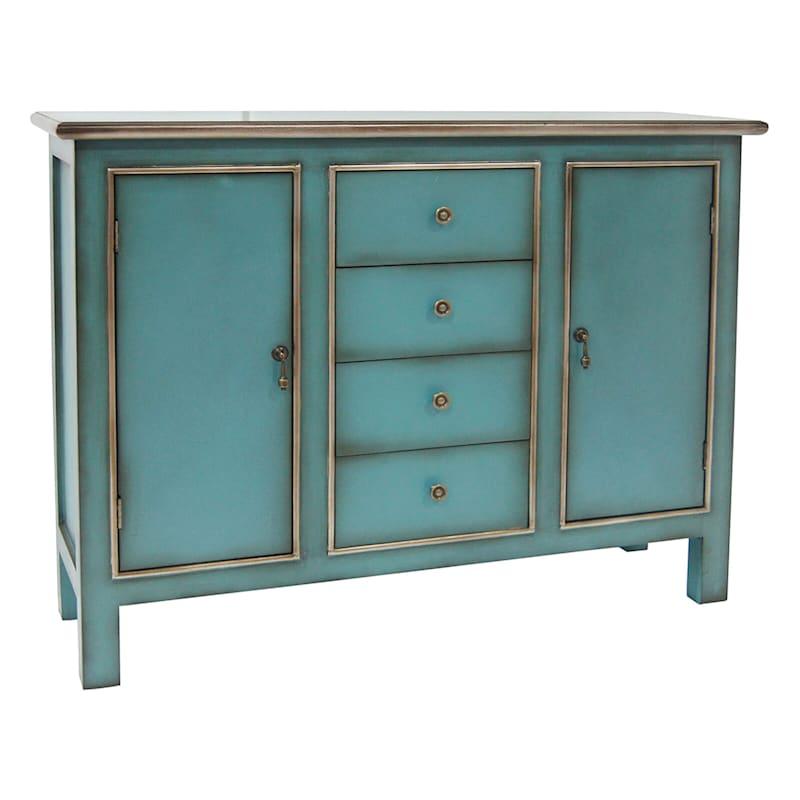Norfolk Dresser/Cabinet, Turquoise/Gold
