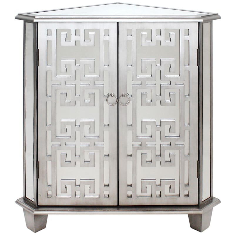 Silver Mirror Corner Cabinet