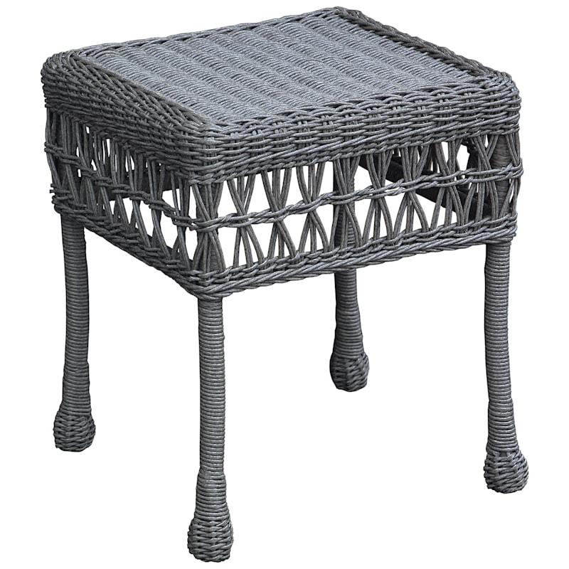Wicker Side Table, Grey