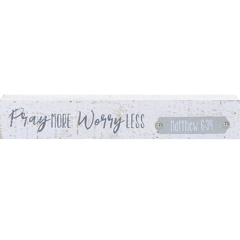 12X2 Pray More Worry Less Tabletop Wood Block