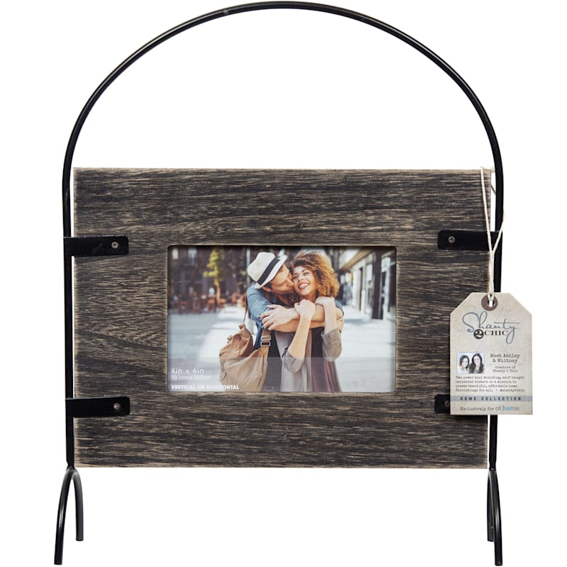 4X6 Blackwash With Metal Arch Standing Photo Frame