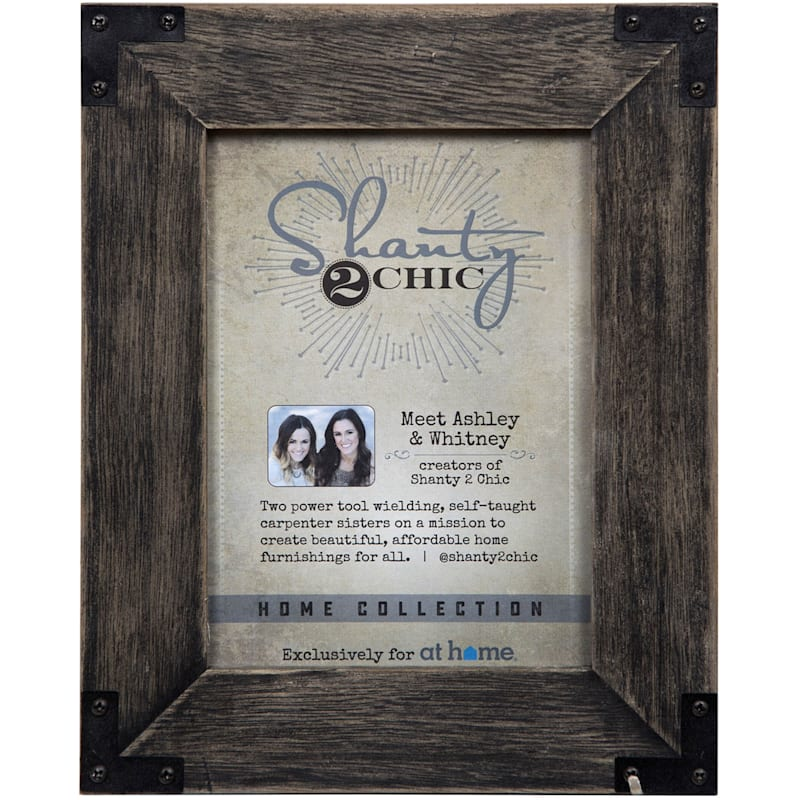 5X7 Blackwash Frame With Metal Accents Tabletop Photo Frame