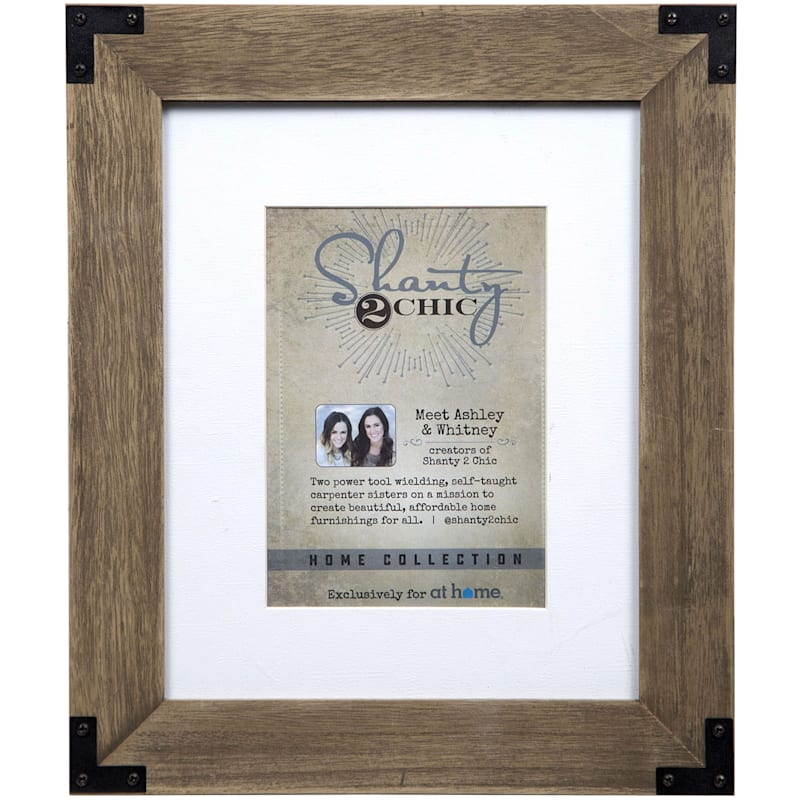 8X10 Brown Wash Frame With Metal Accent Tabletop Photo Frame