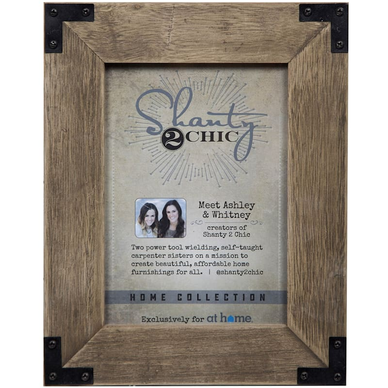 5X7 Brown Wash Frame With Metal Accents Tabletop Photo Frame