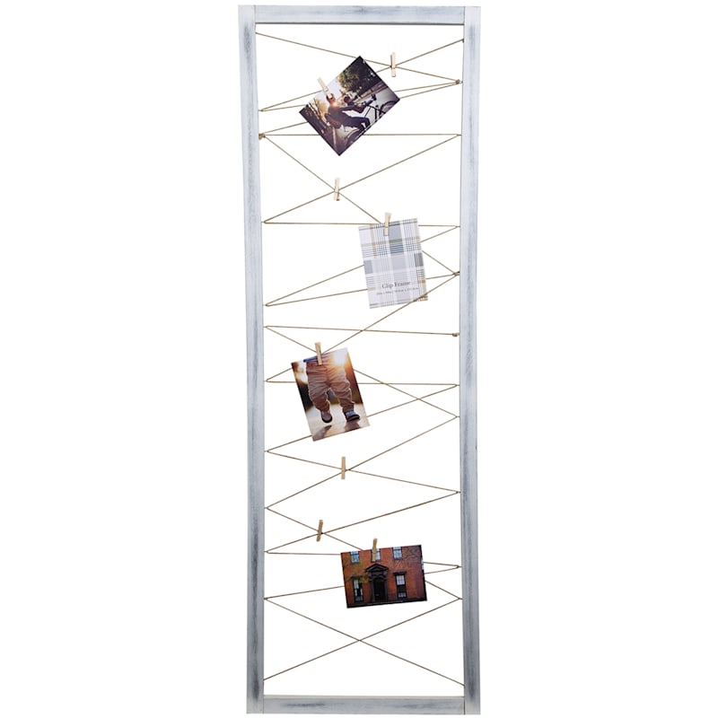 20X60 Whitewash String Collage With Clothespin Photo Holders