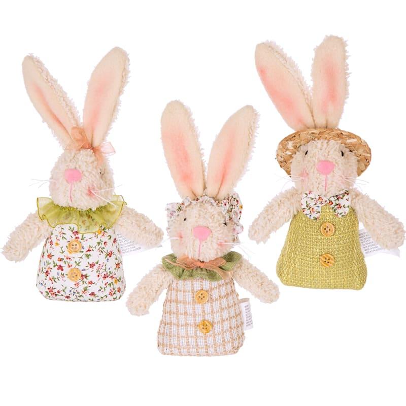 "Fabric Easter Bunny Rabbit Ornament, 6"""