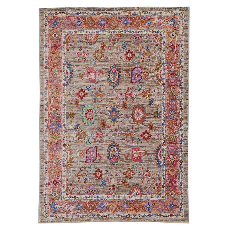 (A373) Multi Colored High End Border Rug, 5x8