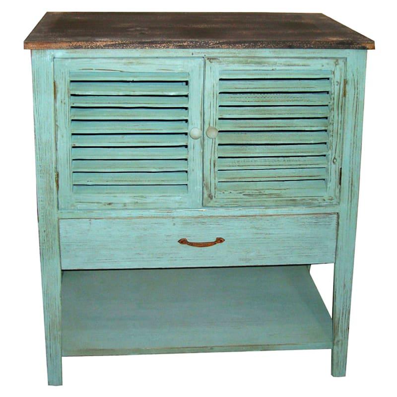 Blue Wood Aqua Shutter Cabinet With Shelf