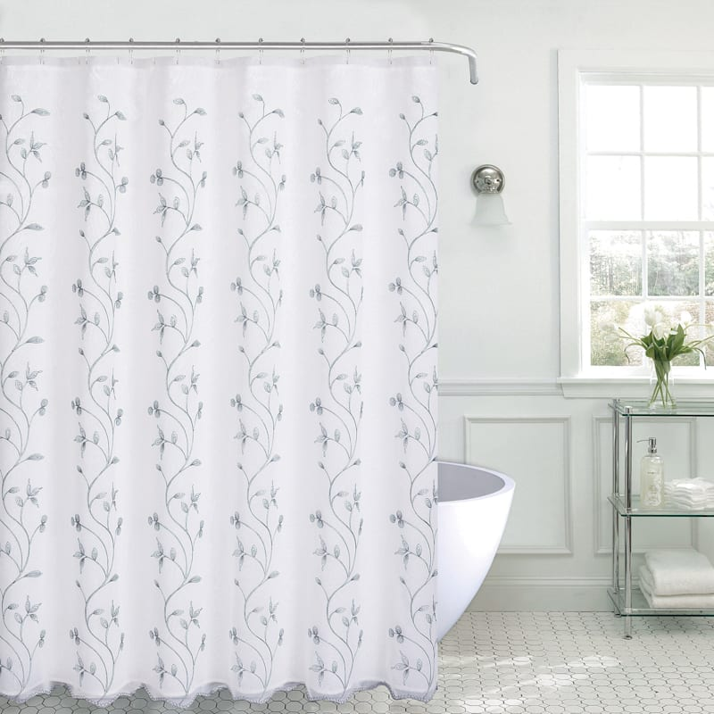 Madura Silver Embroidered Shower Curtain 70X72