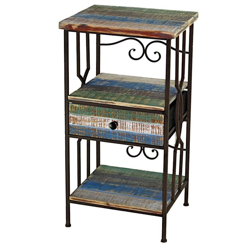 WOOD/METAL TABLE 1DRW 3TIER