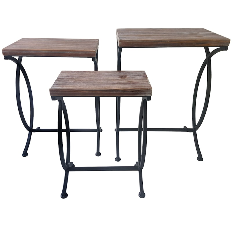 Nested Rustic Rood and Metal Table 26 in.