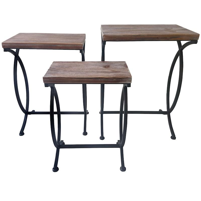 Rustic Wood & Metal Table 24-in