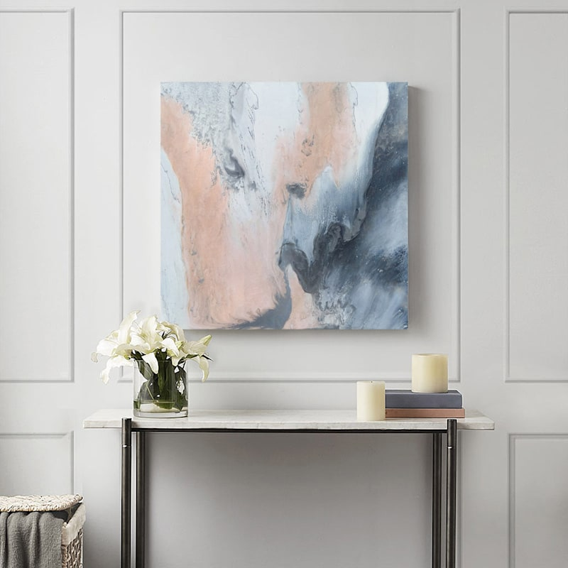 30X30 Blissful In Blush Embellished Canvas Art
