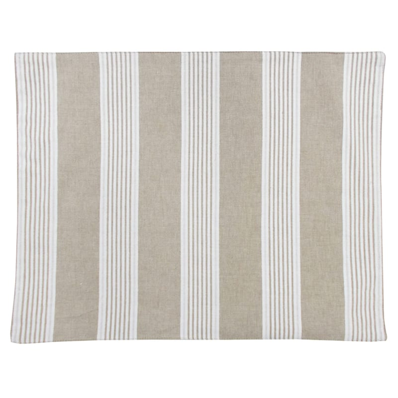 White Fabric Stripe Placemat