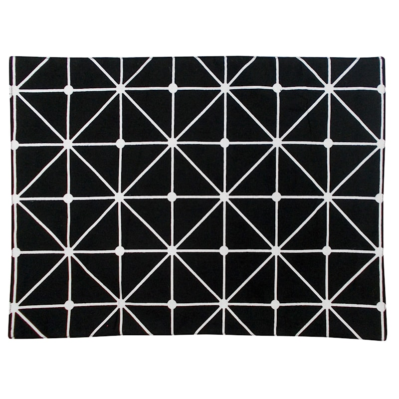 Geometric Fabric Black Colored Placemat